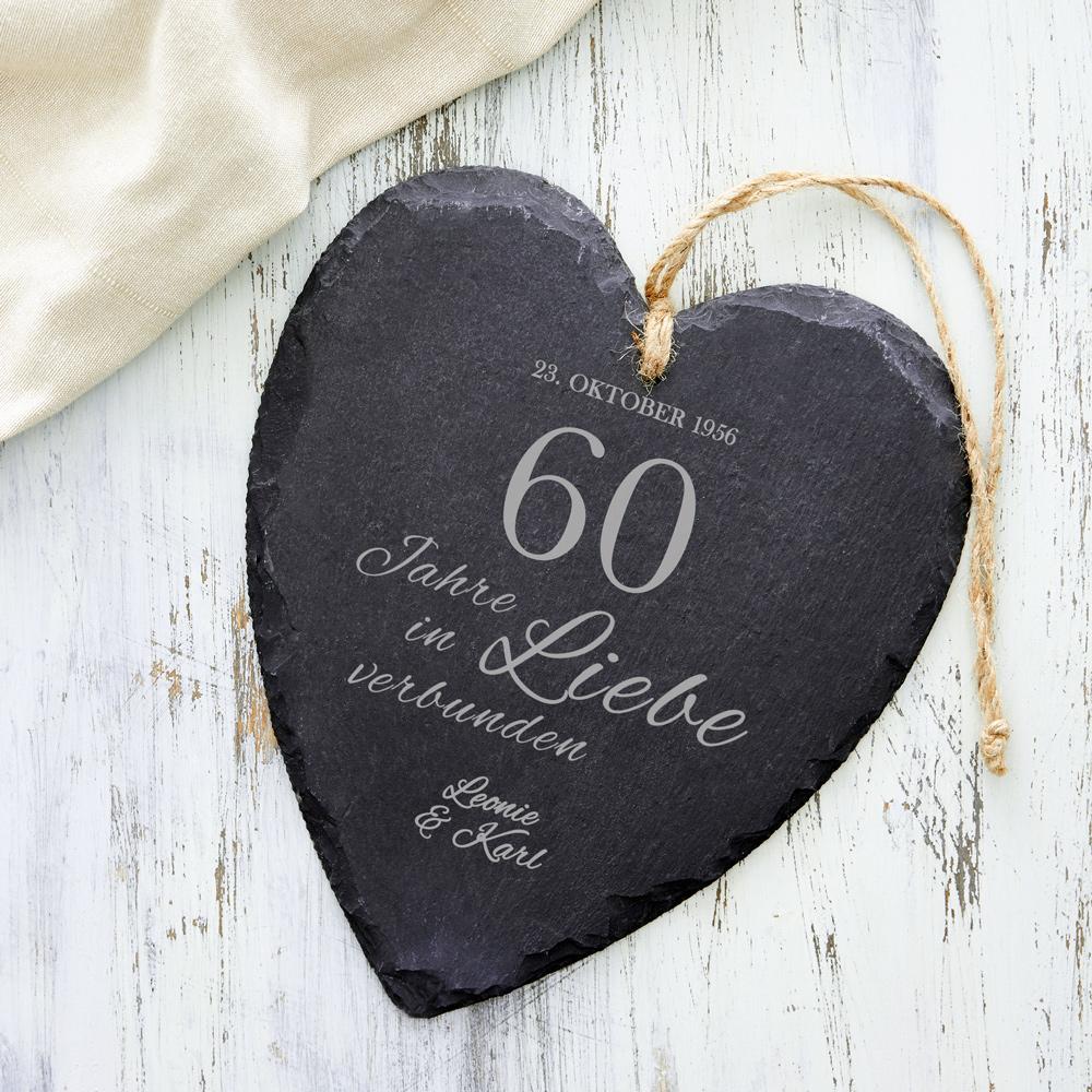 Schieferherz zur Diamantenen Hochzeit - Personalisiert