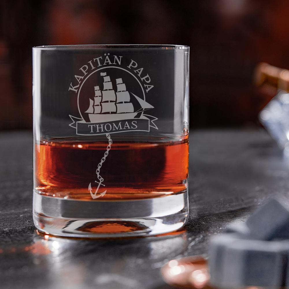Rumglas mit Gravur für Vater - Kapitän - Personalisiert