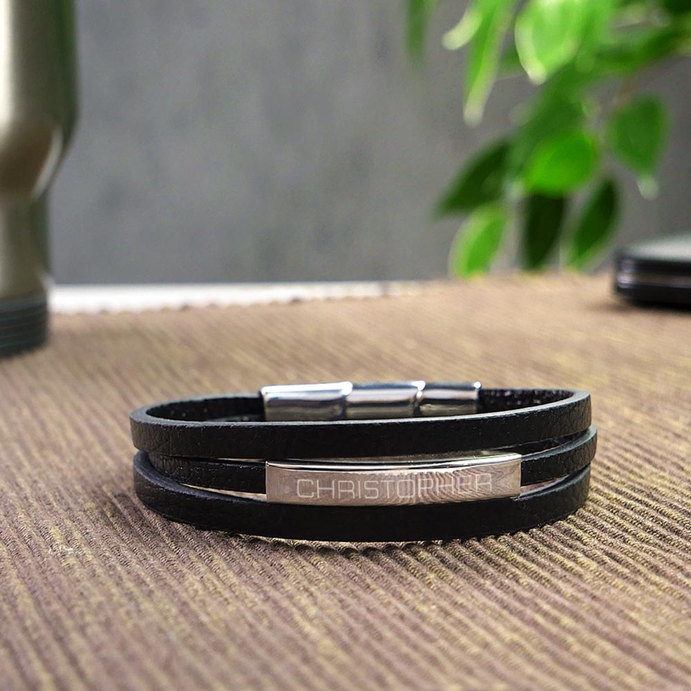 Herrenarmband mit Gravur - Leder Armband mit Name