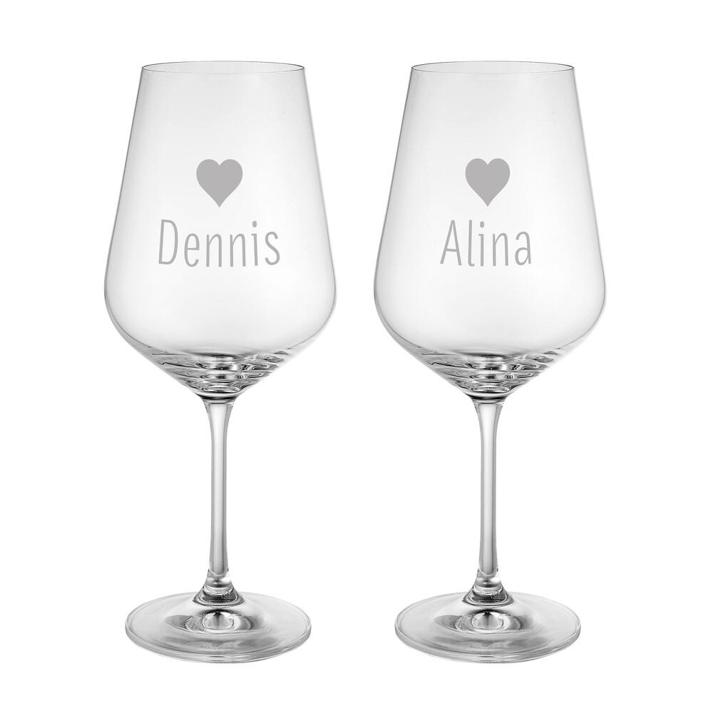 Weinglas mit Gravur Herzchen - Personalisiert - 2er Set