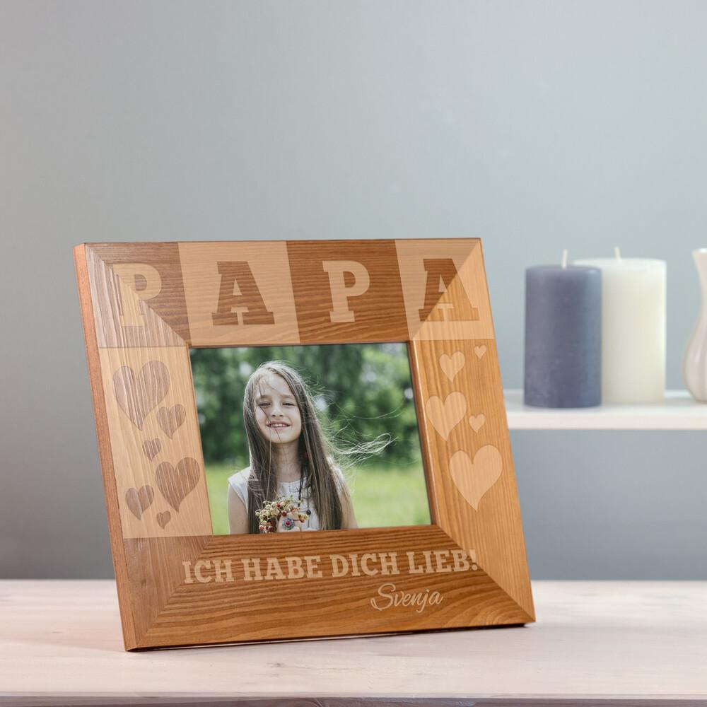 Bilderrahmen aus Holz mit Gravur für Papa - Personalisiert
