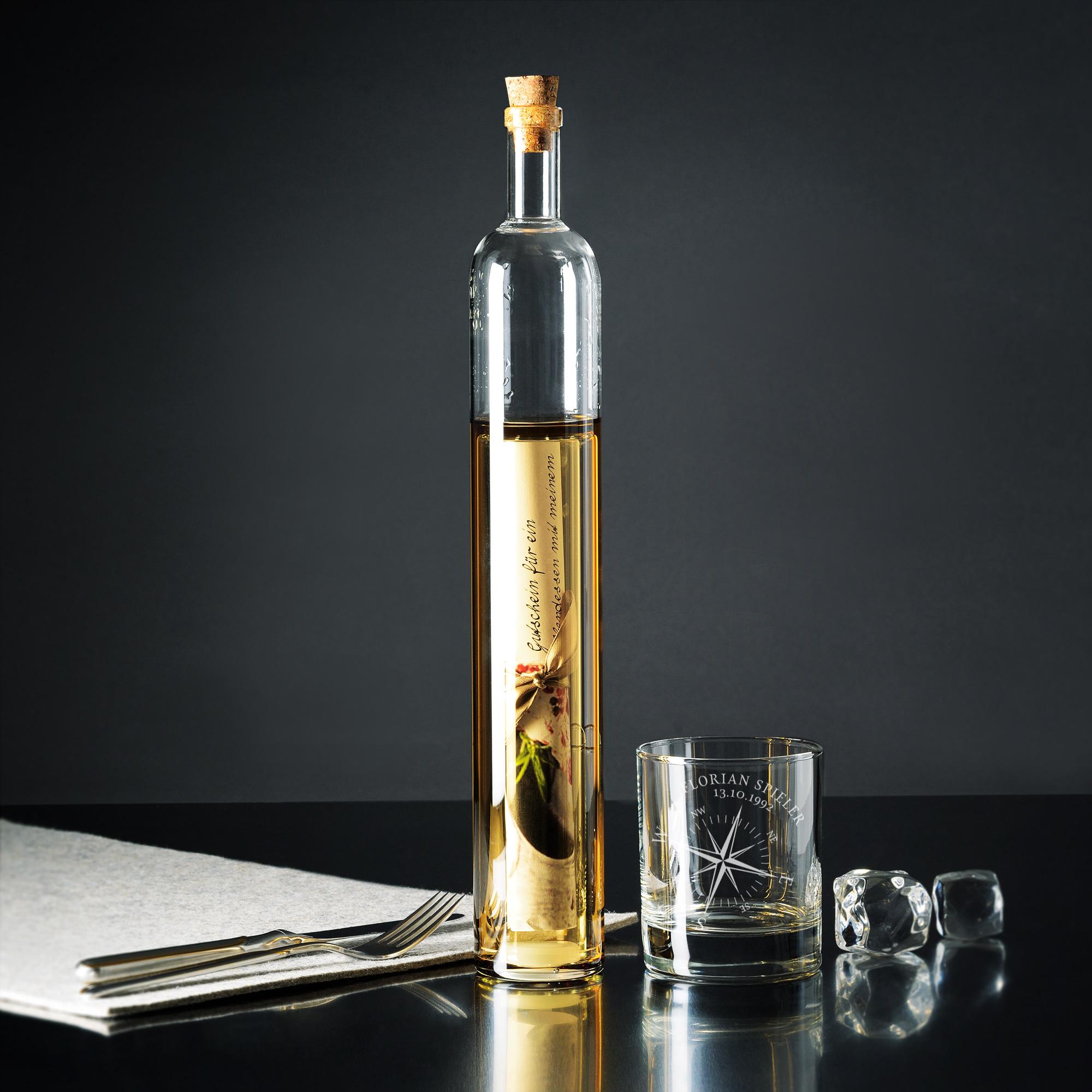 Bundle - Hohlraumflasche - Whiskyglas - Kompass - Personalisiert
