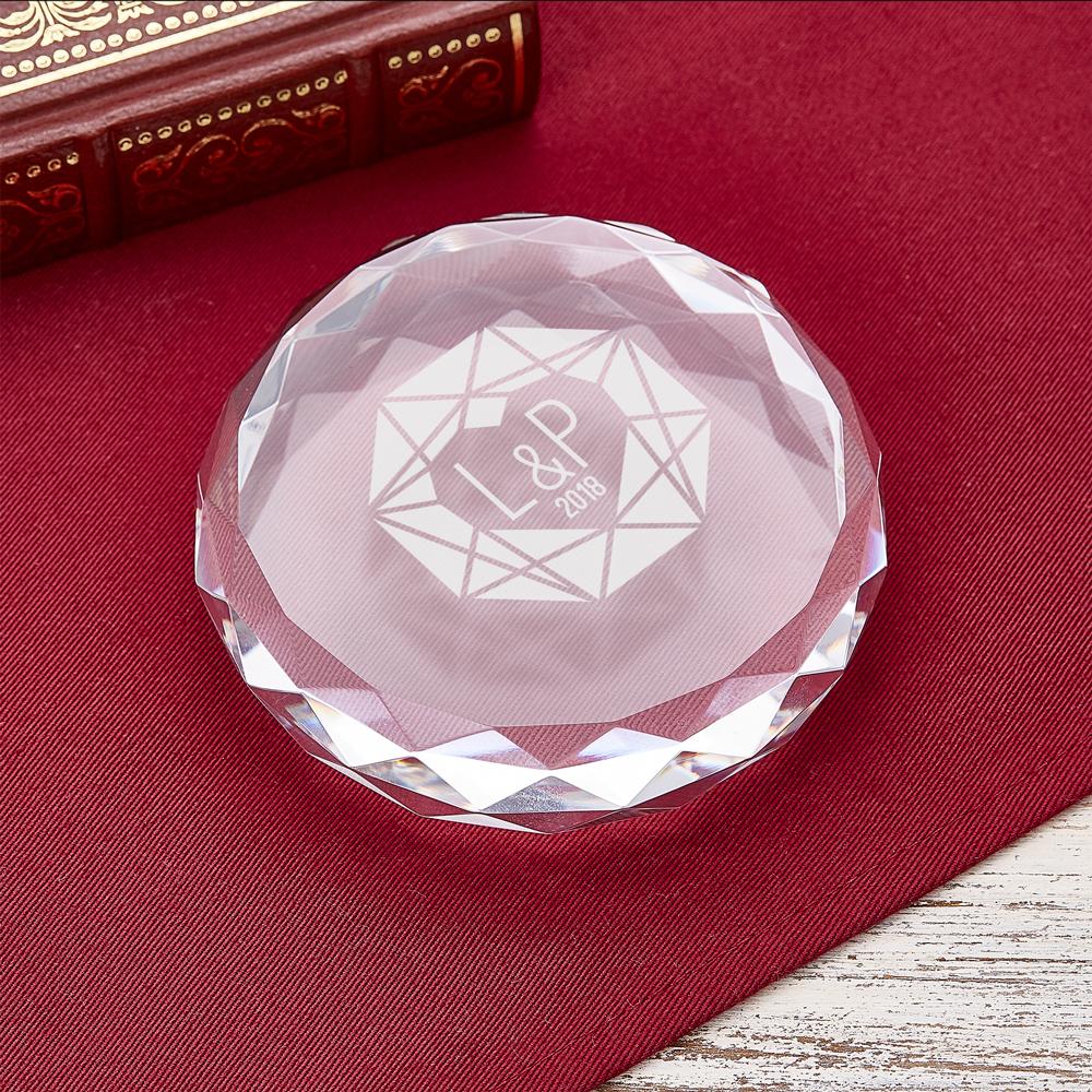 Kristall mit Gravur - Diamant und Initialen - Personalisiert