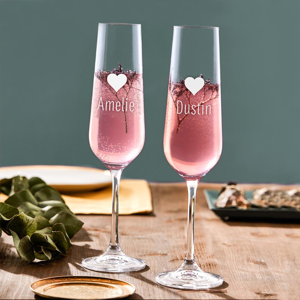 Sektglas mit Gravur Herz - Personalisiert - 2er Set