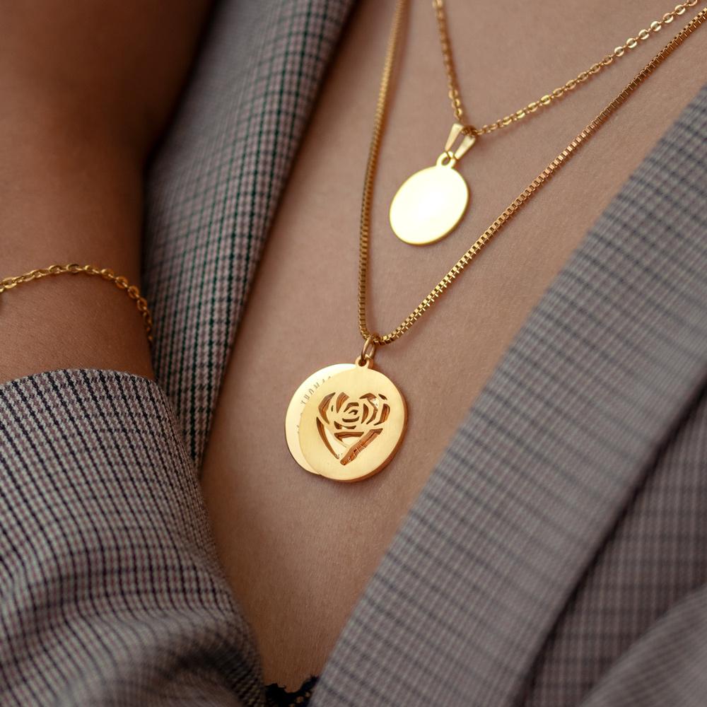 Halskette mit Gravur - Herz und Namen - Gold - Personalisiert