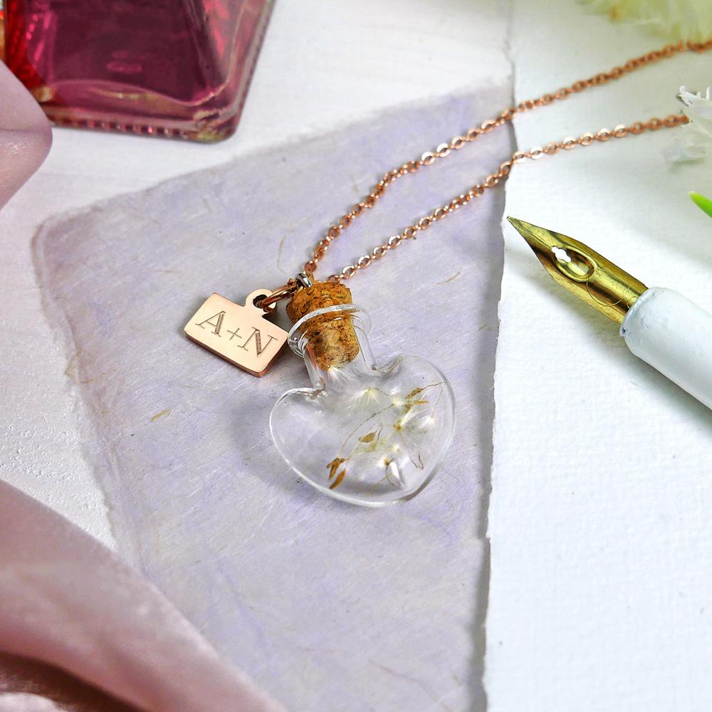 Kette mit Flaschenanhänger in Herzform - Initialen - Personalisiert