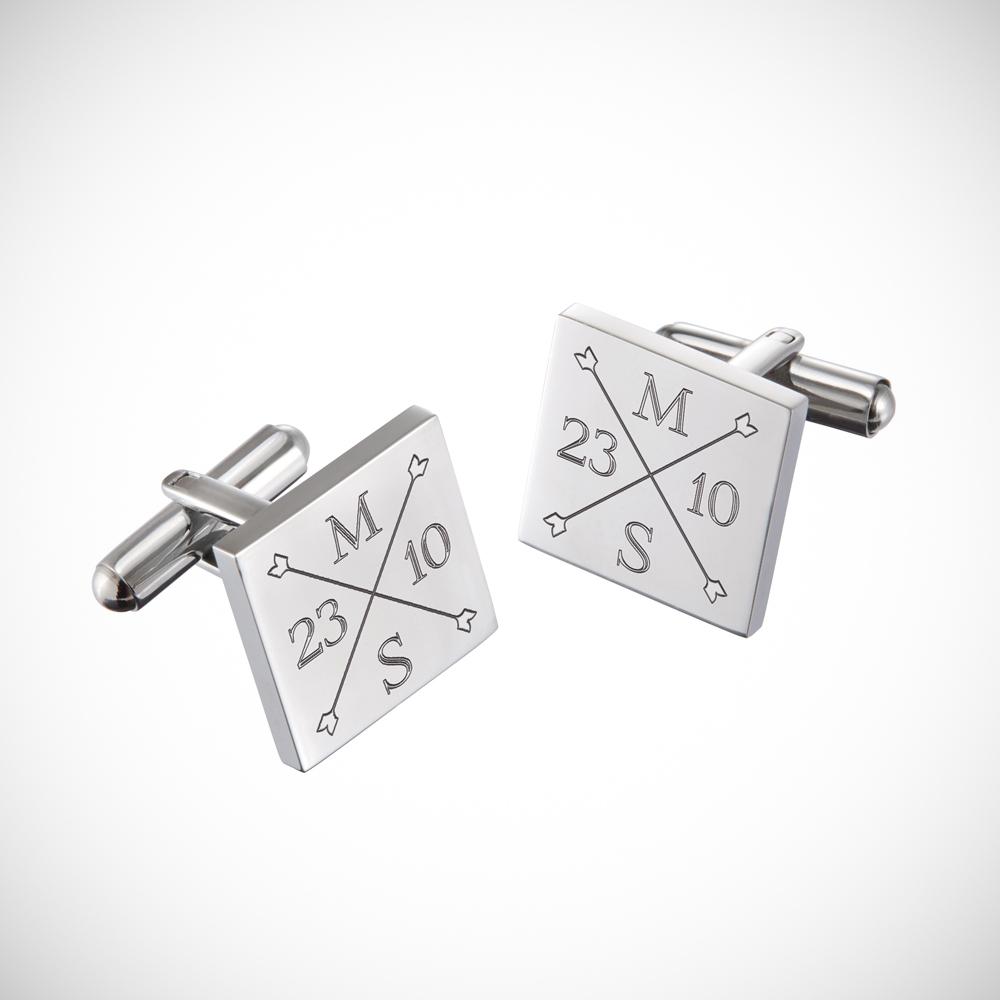 Manschettenknöpfe mit Gravur zur Hochzeit - Monogramm - Quadratisch - Silber