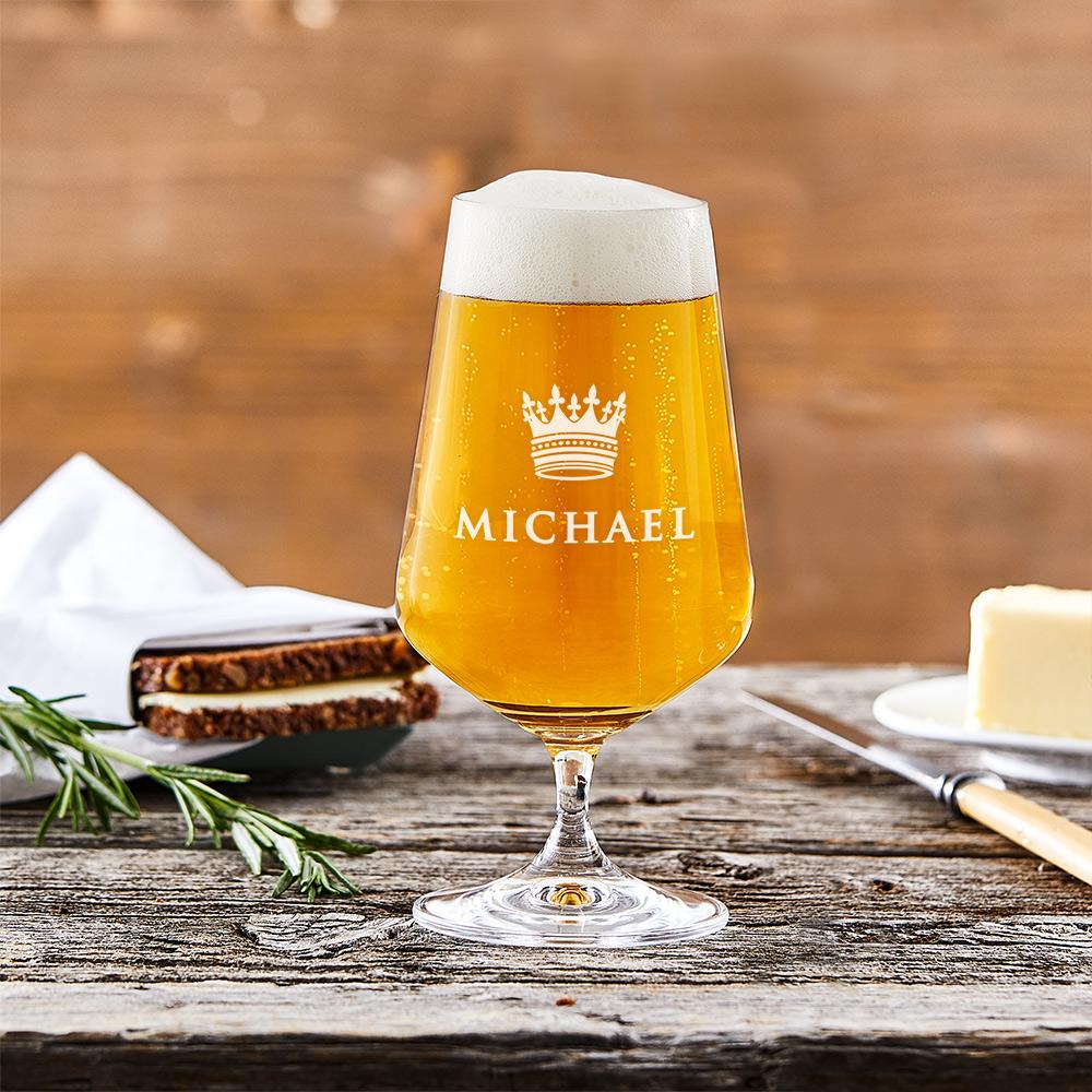 Bierglas mit Gravur Große Krone - Pilsglas - Personalisiert