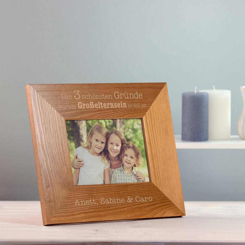 Bilderrahmen aus Holz mit Gravur - Großelternsein - Personalisiert