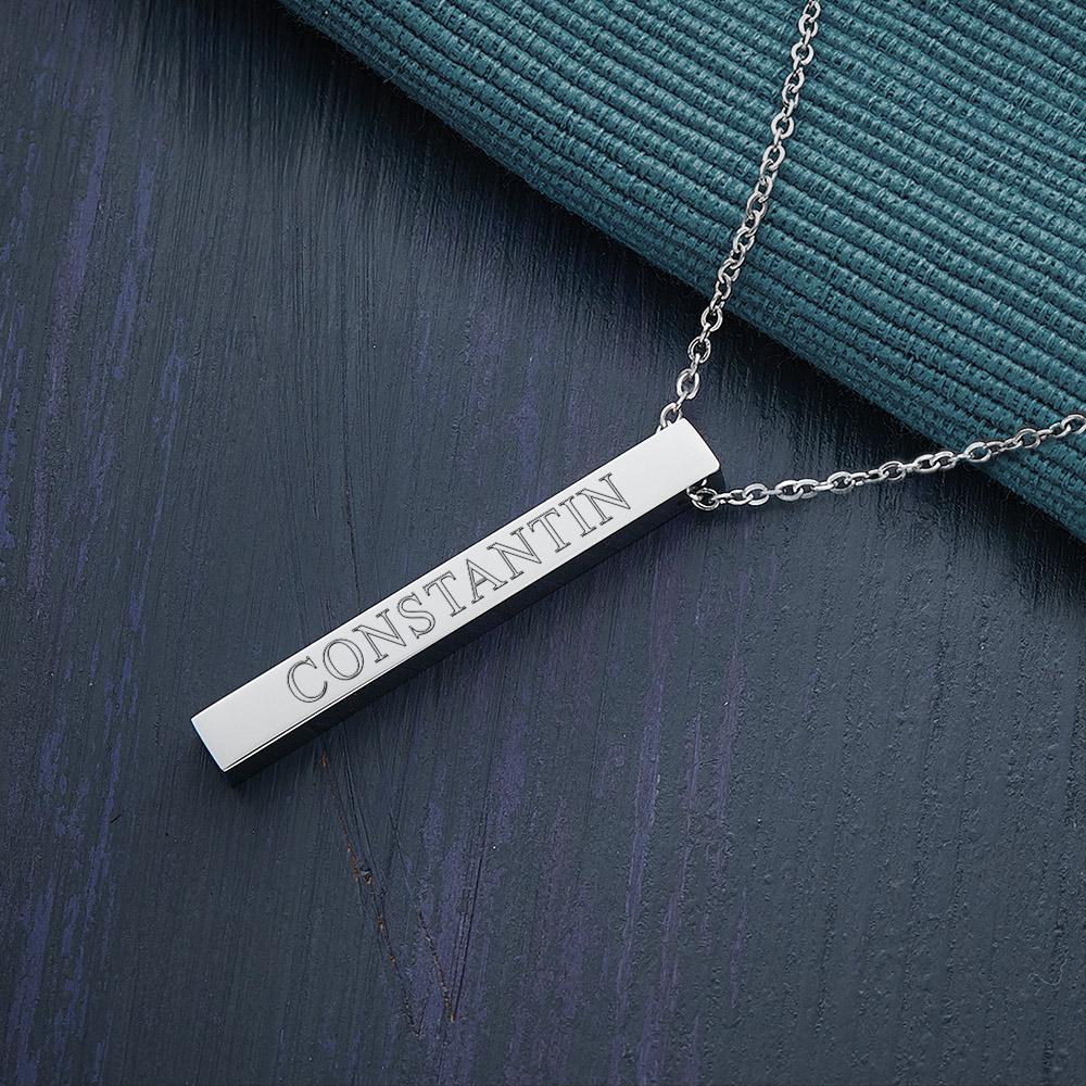 Halskette mit Gravur - Silber - Stab Anhänger graviert - Personalisiert