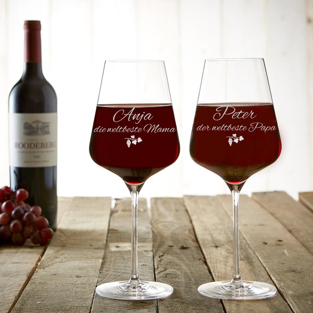 2er Set - Weinglas - Beste Eltern - Personalisiert