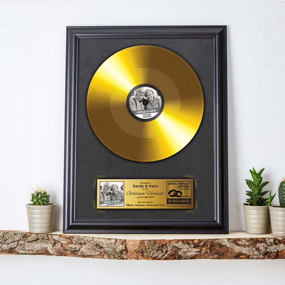 Goldene Schallplatte zur Goldenen Hochzeit - Personalisiert