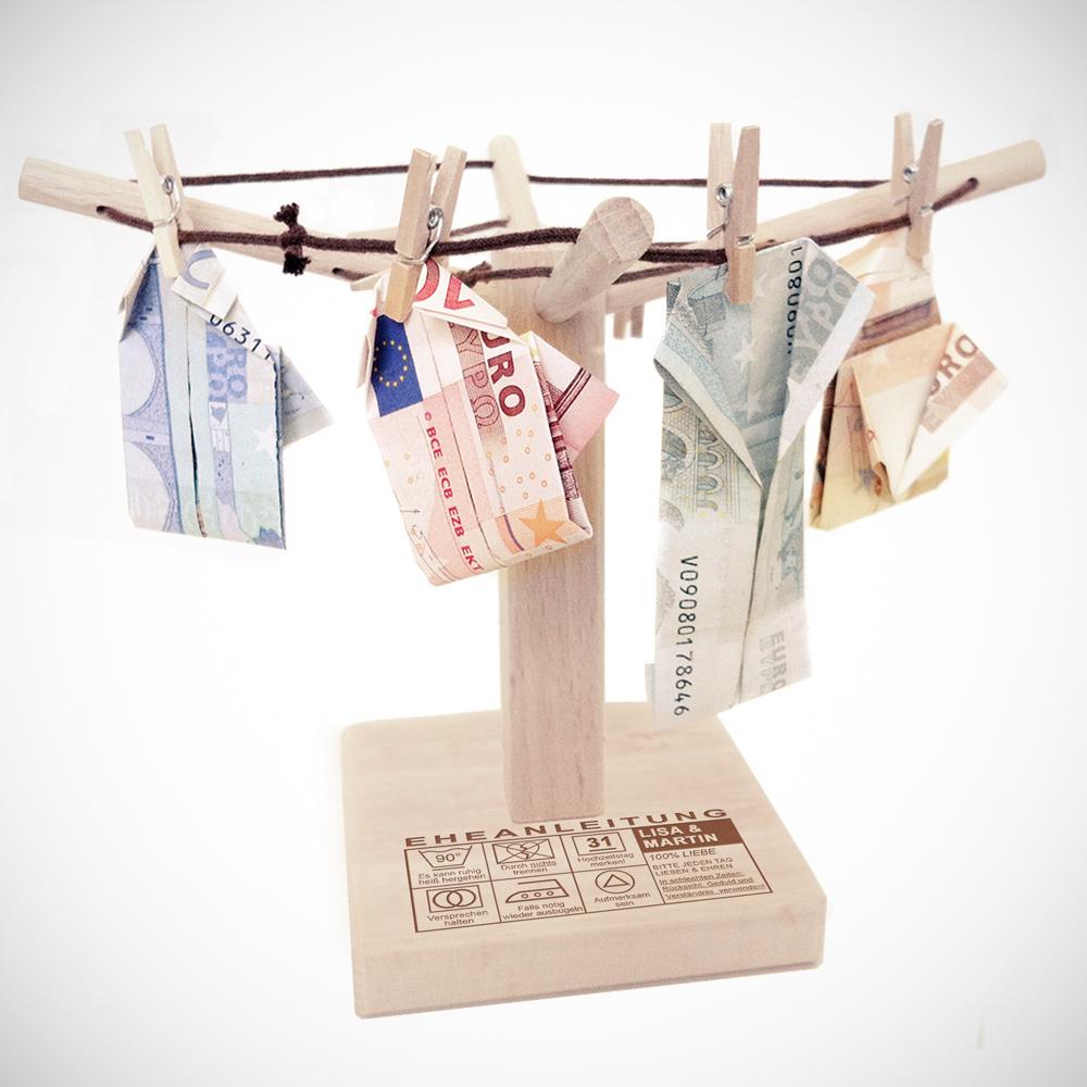 Geld Wäschespinne zur Hochzeit - Eheanleitung - Personalisiert