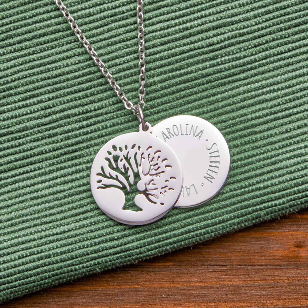 Halskette mit Gravur - 2 Anhänger - Baum und Namen - Personalisiert
