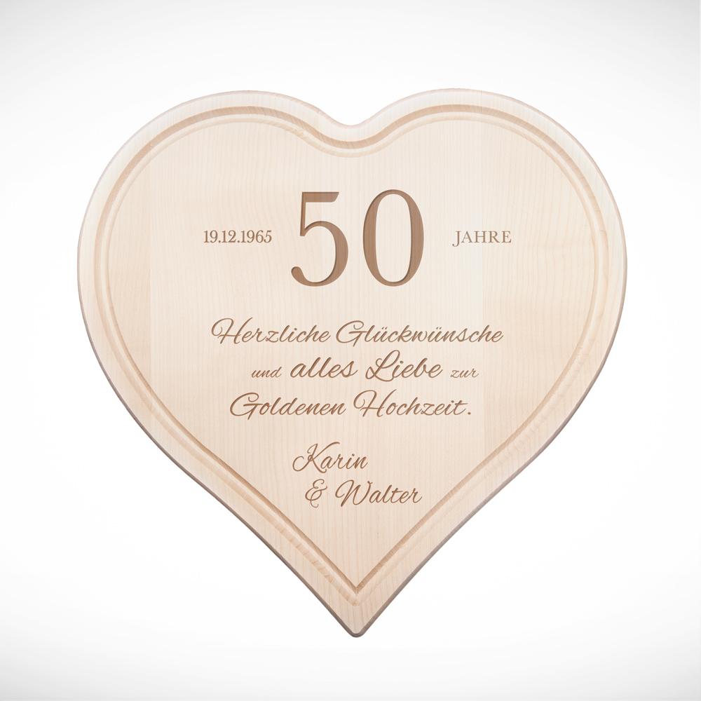 Herzbrett mit Gravur Glückwünsche zur Goldhochzeit - Personalisiert