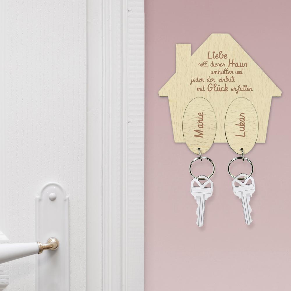 Schlüsselhaus mit Gravur - Haussegen Schlüssellbrett - Personalisiert