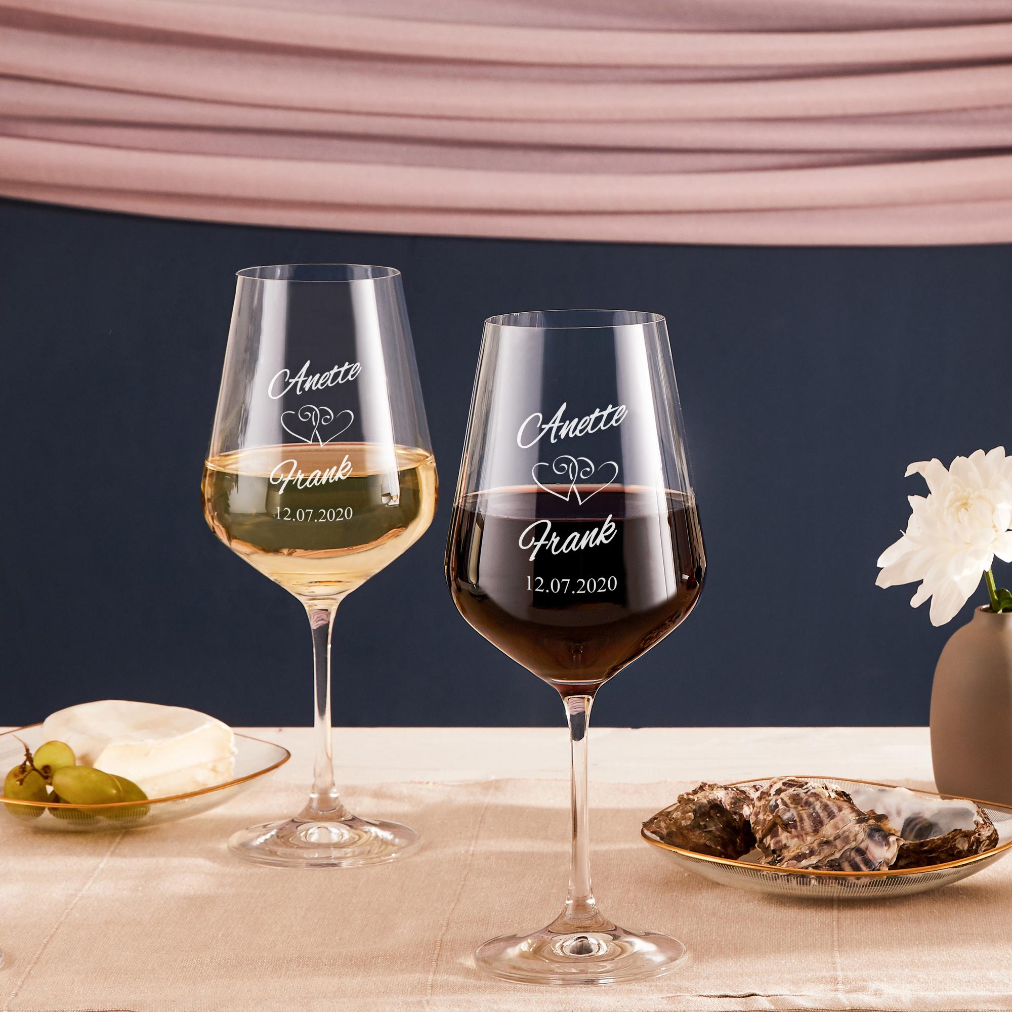 Weinglas mit Gravur Herzen - Personalisiert - 2er Set Weißweinglas