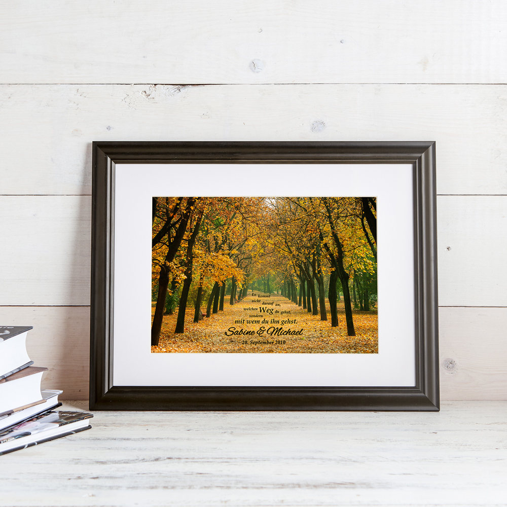 Gemeinsamer Weg - Herbstbild - Ihre Namen im Bild