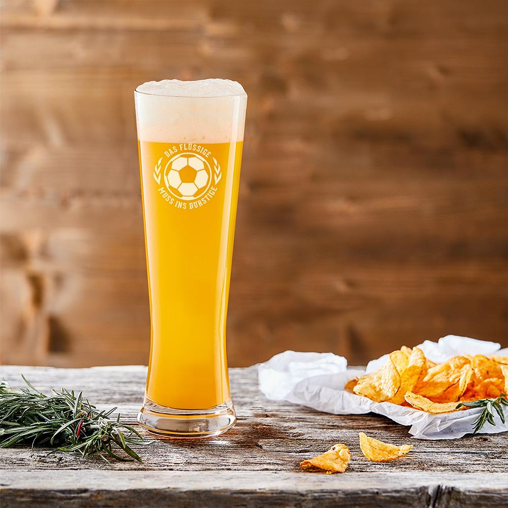 Weizenglas mit Gravur - Das Flüssige muss ins durstige - Weizenbierglas