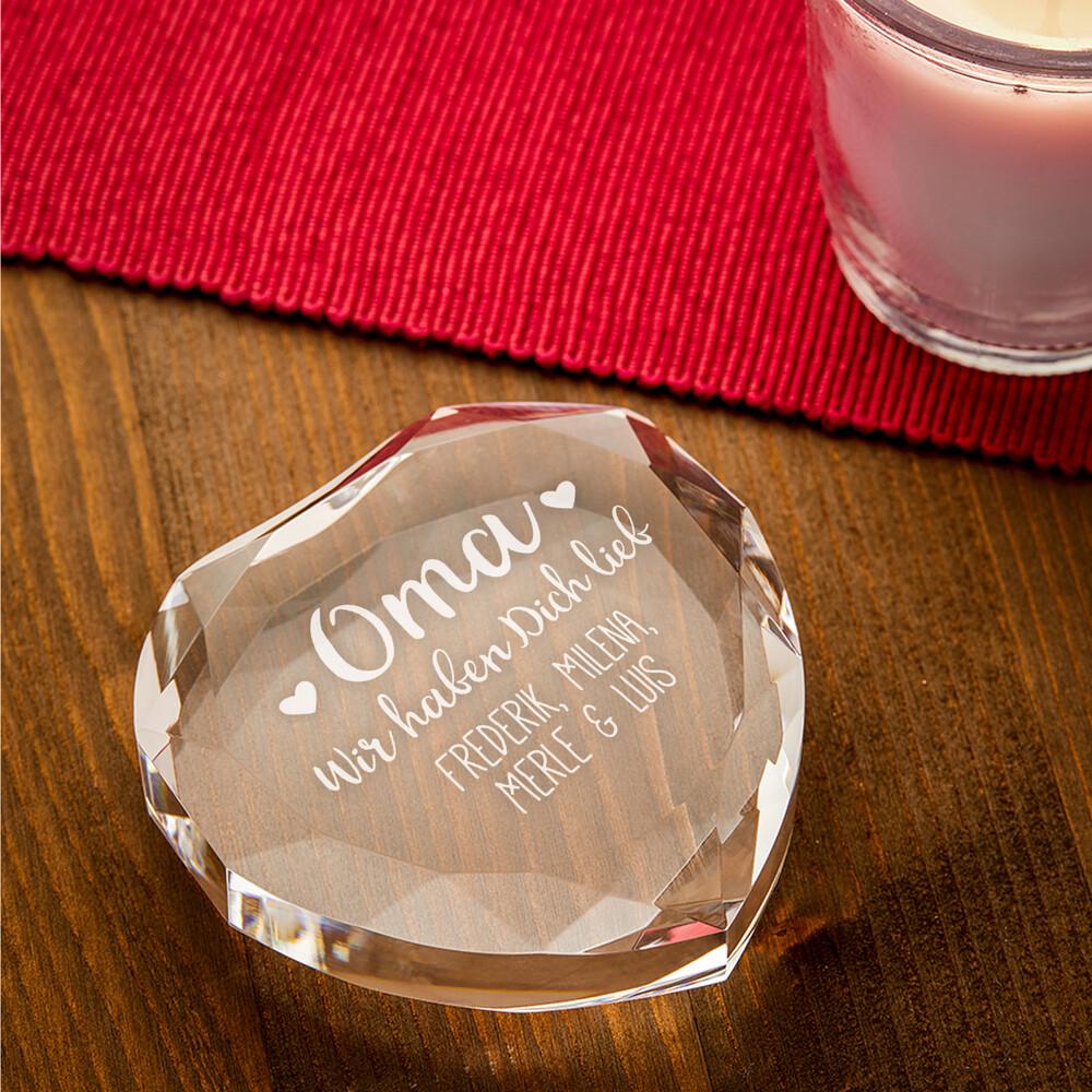 Herzkristall mit Gravur für Oma - Personalisiert