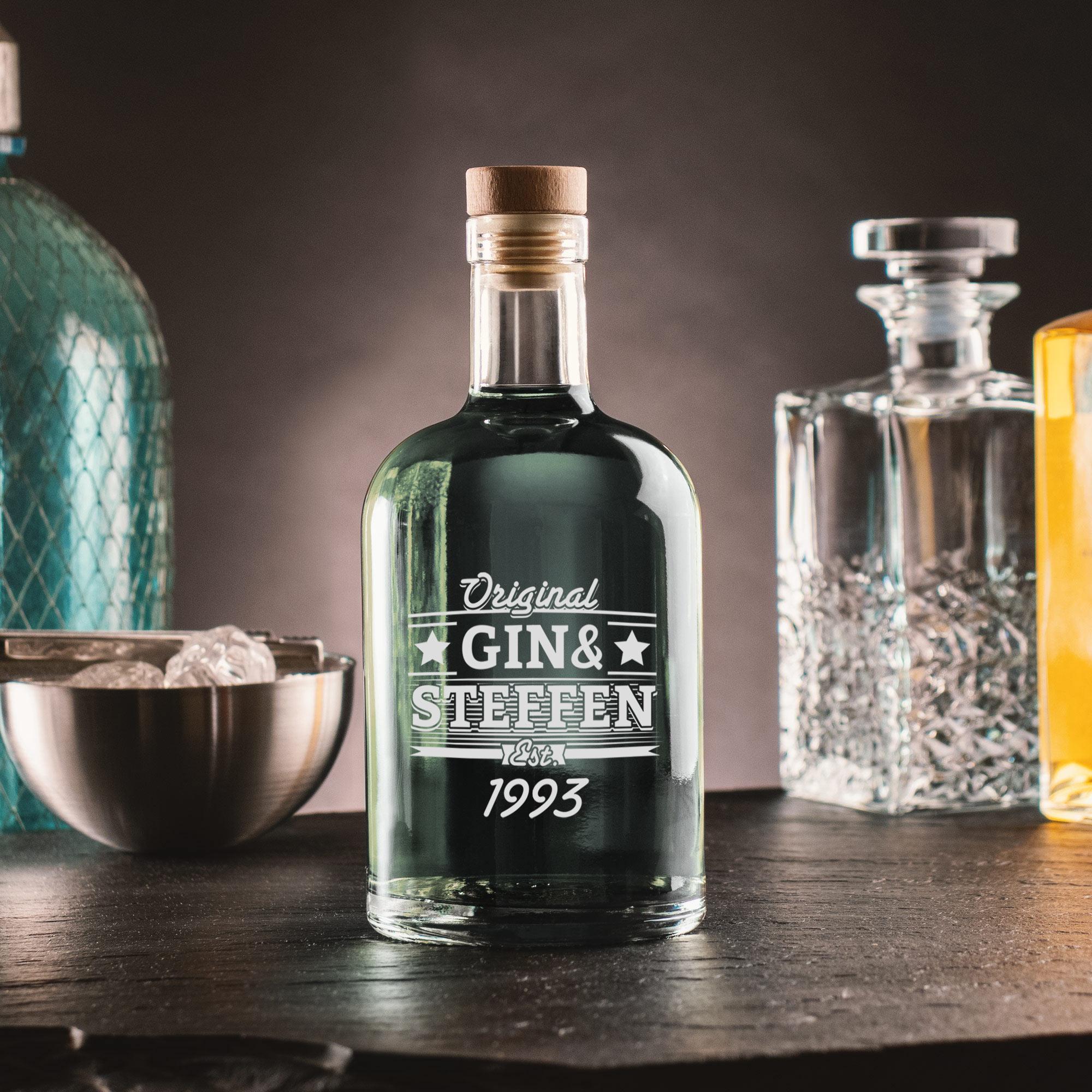 Glaskaraffe mit Gravur - Gin & Geburtstag