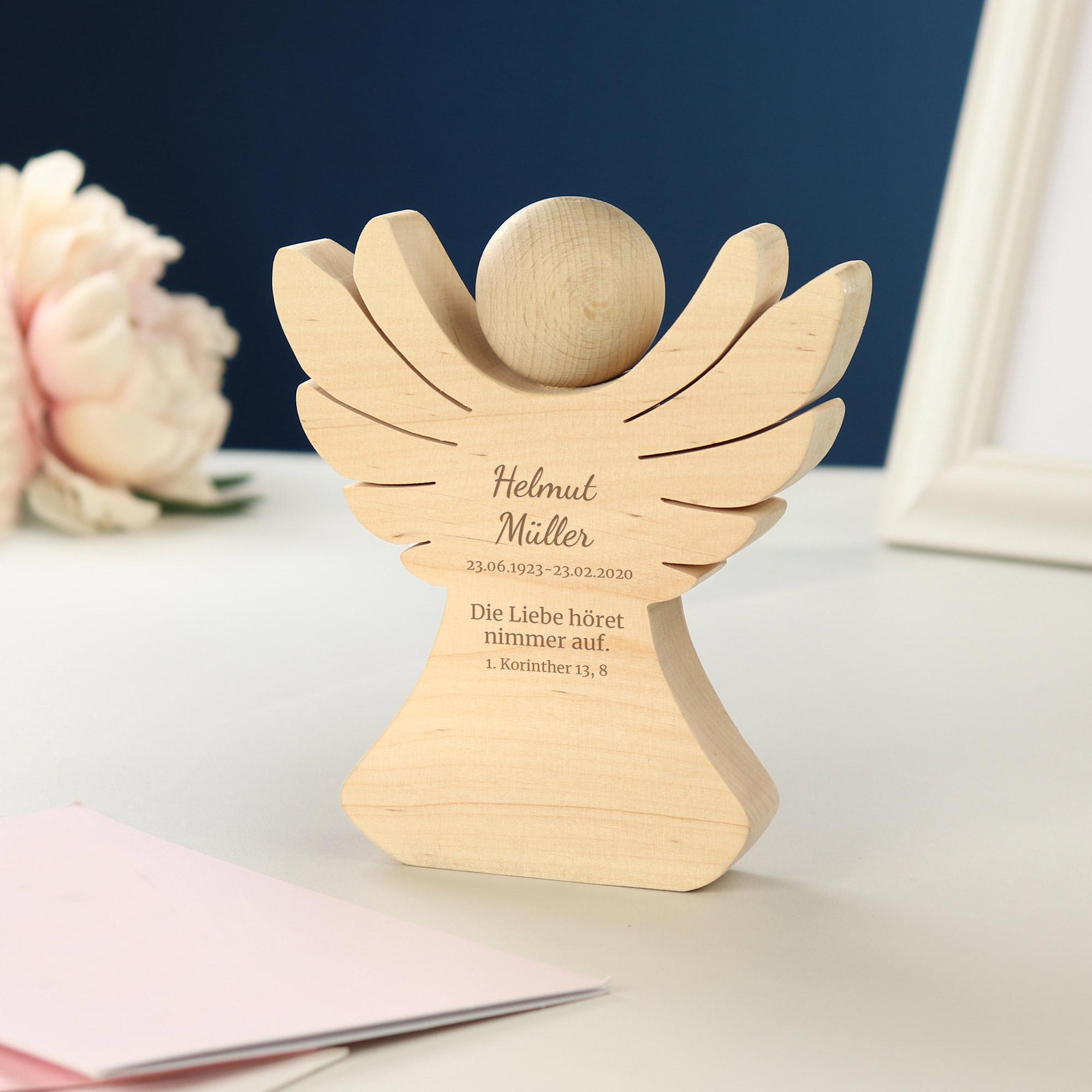 Engel aus Holz mit Gravur - Trauer - Personalisiert
