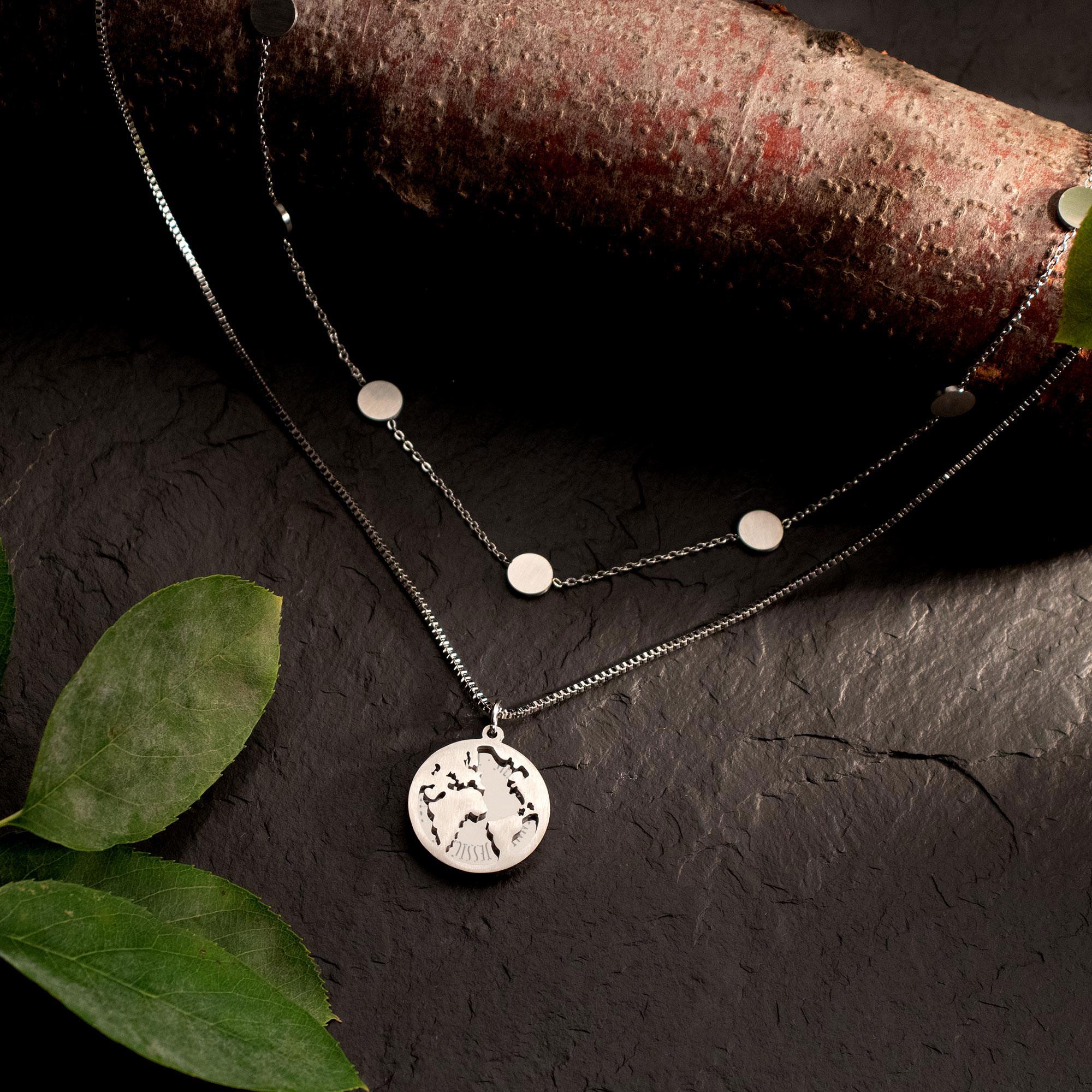 Schmuckset Silber mit Globus und Layering Kette - Namen