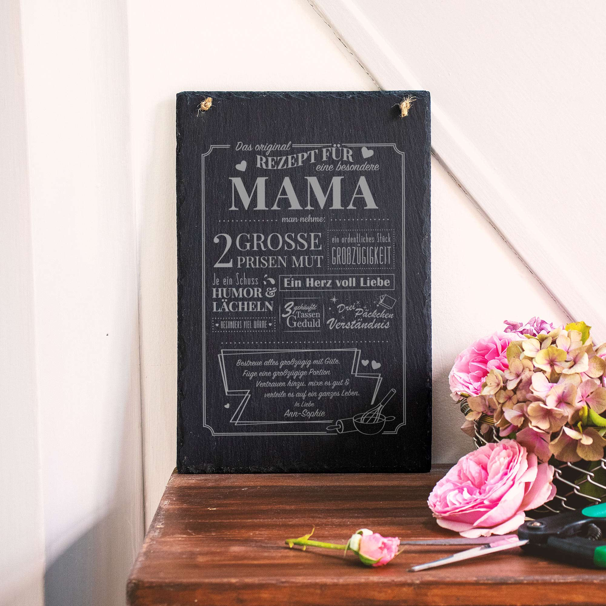 Personalisierte Schiefertafel mit Gravur Rezept Mama - Groß