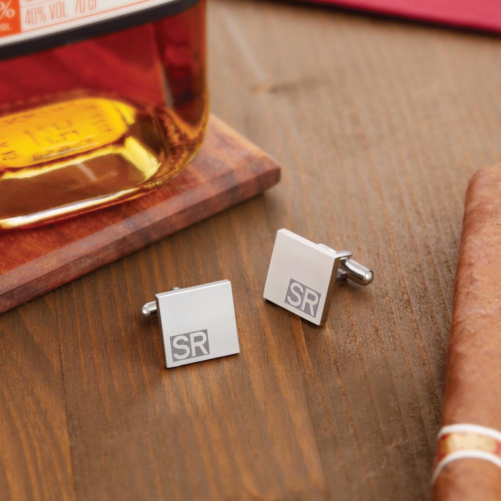 Manschettenknöpfe mit Gravur - Initialen - Quadratisch - Silber