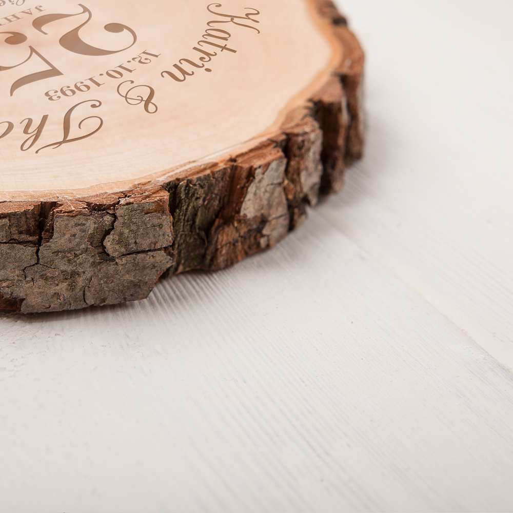 Baumscheibe mit Gravur zur Silberhochzeit - Personalisiert