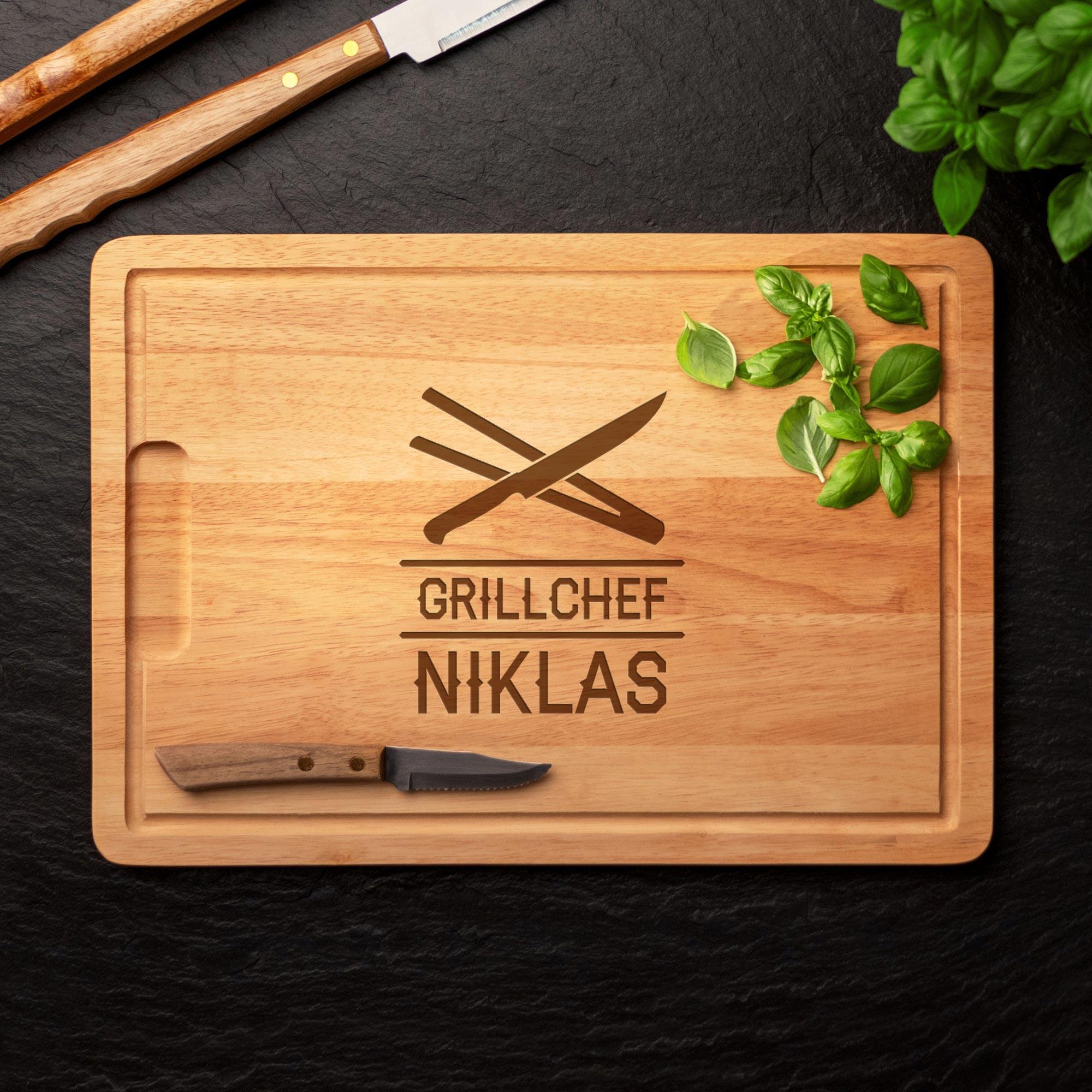 Grillset Grillbrandeisen und Schneidebrett - Grillchef Besteck