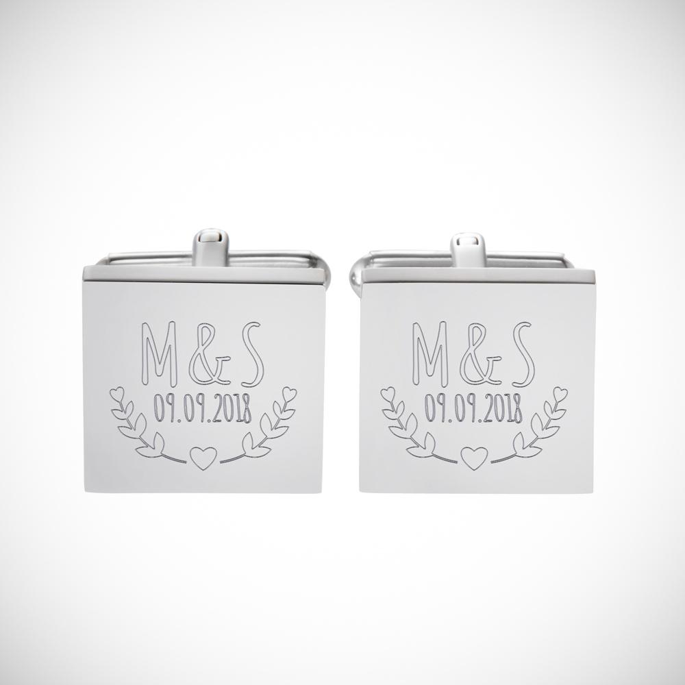 Manschettenknöpfe mit Gravur zur Hochzeit - Blätter - Eckig - Silber
