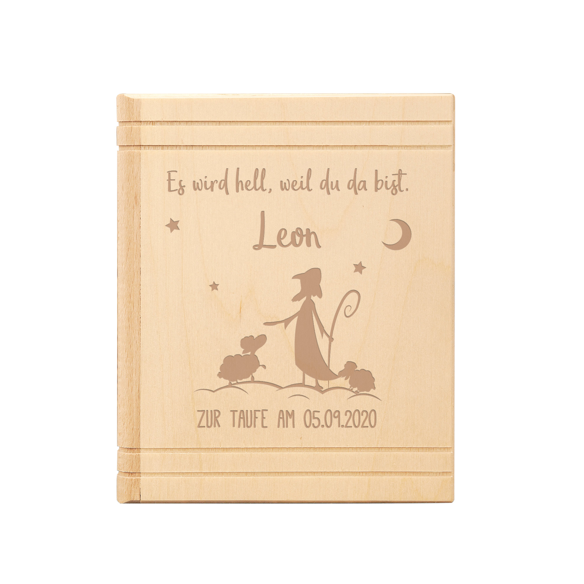 Spardose - Buch aus Holz mit Gravur zur Taufe - Hirte - Personalisiert