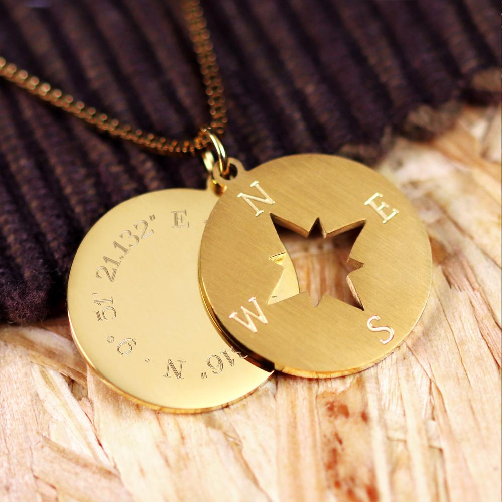 Halskette mit Gravur - Kompass und Geokoordinaten - Gold - Personalisiert