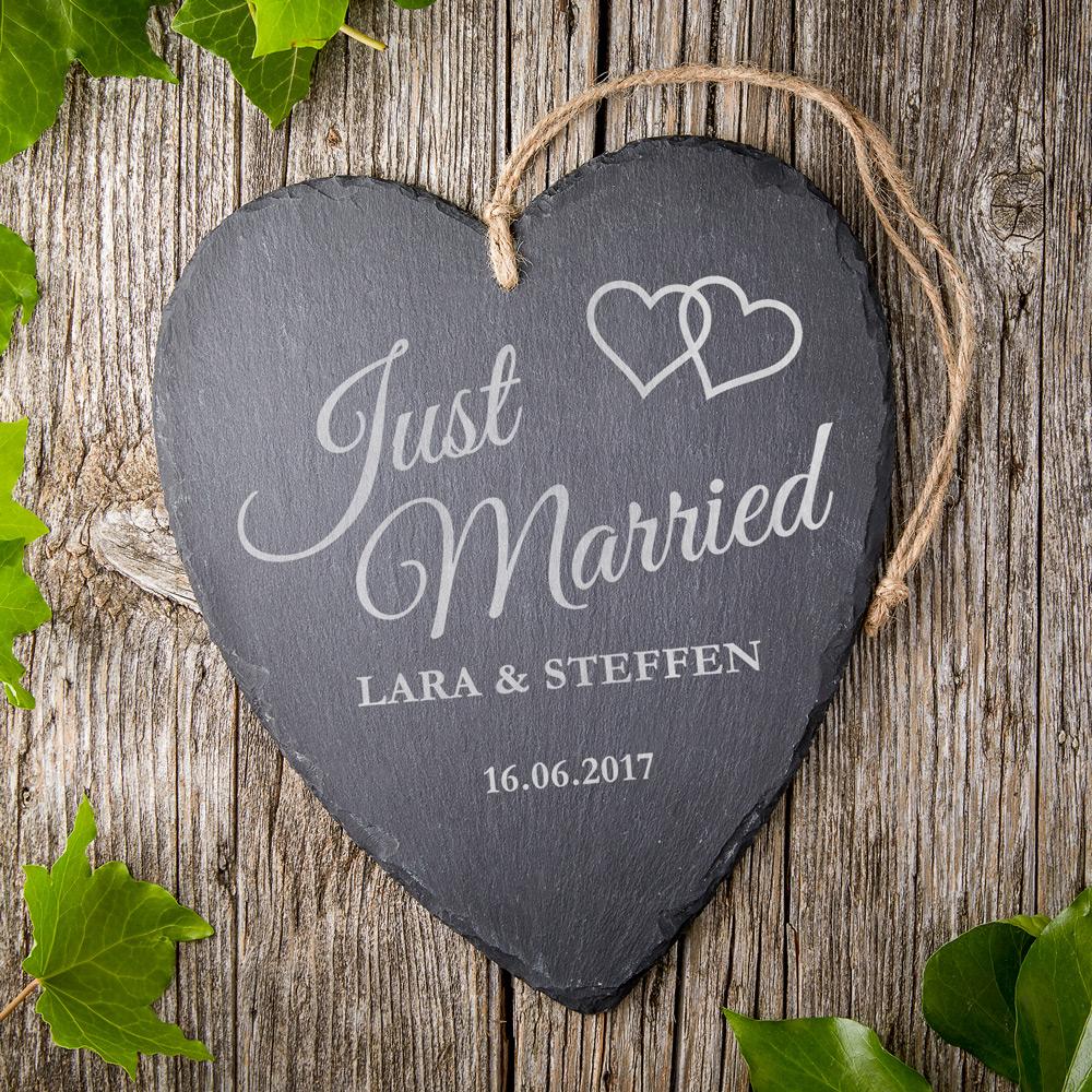 Schieferherz zur Hochzeit mit Gravur - Just Married - Personalisiert
