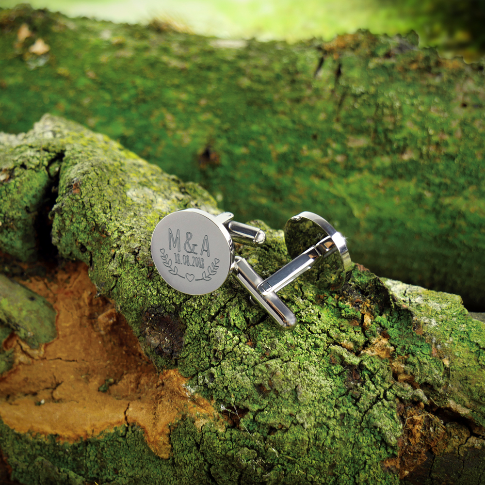 Manschettenknöpfe mit Gravur zur Hochzeit - Blätter - Rund - Silber