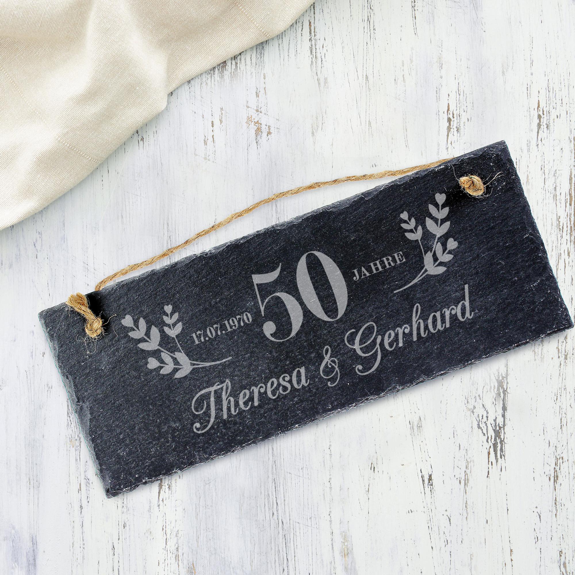 Schieferschild mit Gravur - Goldene Hochzeit - Personalisiert