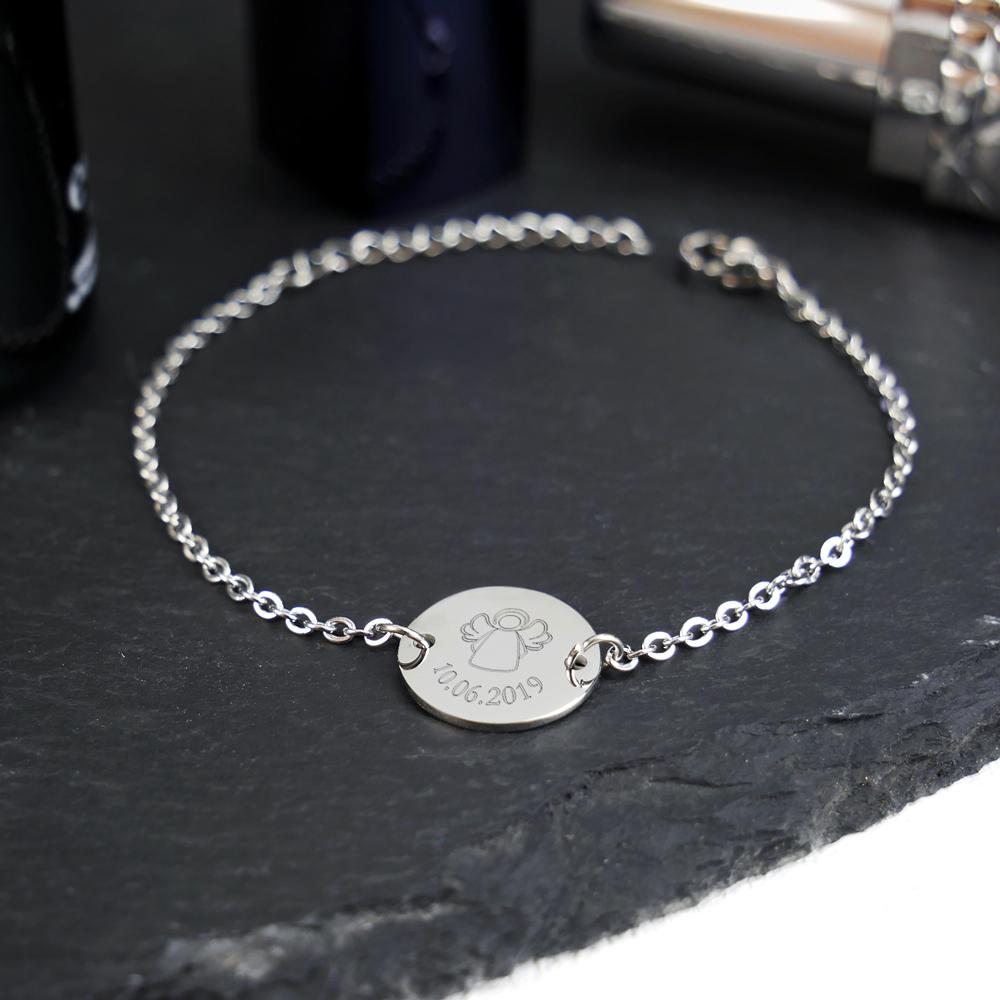 Armkettchen mit Gravur - Schutzengel - Silber - Personalisiert