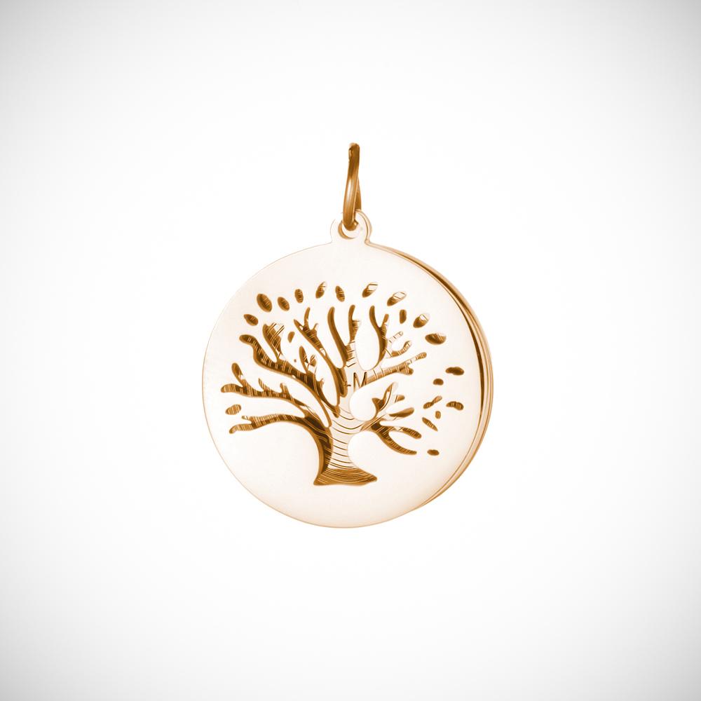 Halskette mit Gravur - Baum und Jahresringe - Gold - Personalisiert