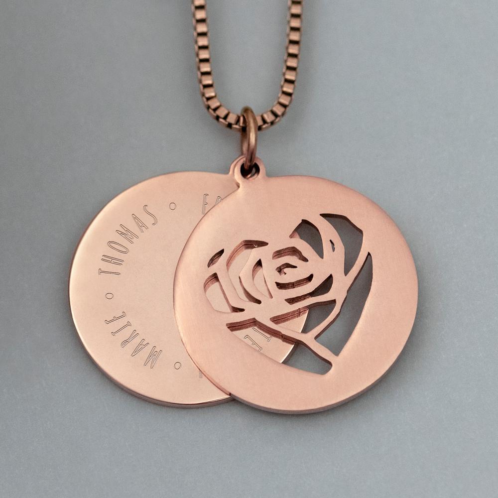 Halskette mit Gravur - Herz und Namen - Roségold - Personalisiert