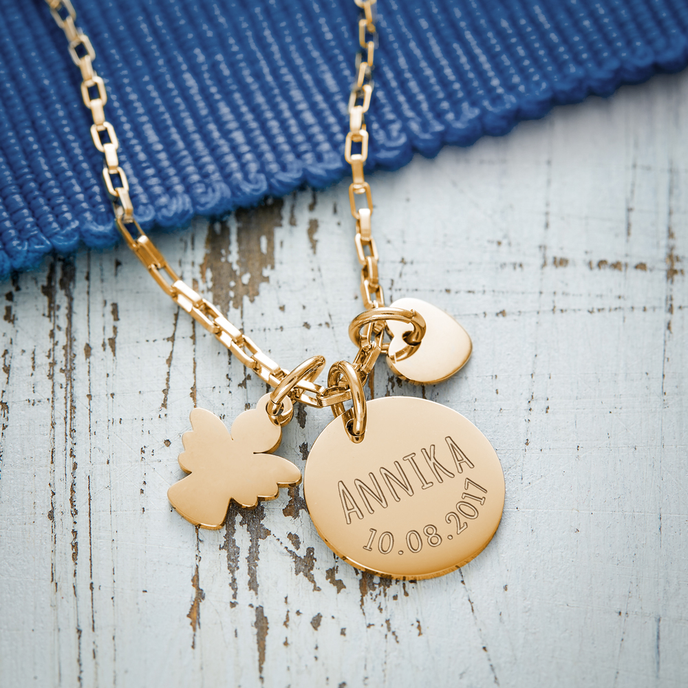 Kette mit Gravur Anhänger - Herz und Engel - Gold - Personalisiert